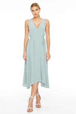 BLAK BRIDESMAIDS  The Calm Dress is super flattering. With a gorgeous deep v neck cut front and back and a flowing silhouette. This piece also comes with a waist tie for a more fitted look - Front View