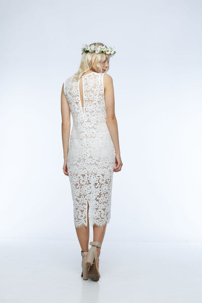 Check Point Dress White Lace