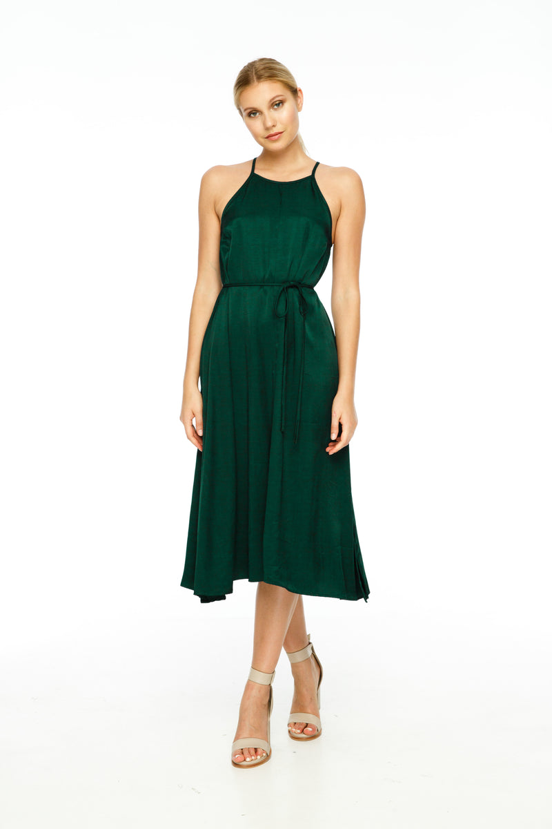 A BLAK Bridesmaids Dress     The Haven Dress is a classic style that's suits everyone! Simple yet elegant, with a free flowing silhouette featuring a high neckline and keyhole detailing on the back. Style with the tie belt to bring in at the waist     Midi Length Side splits in hem Button closure at back neck Waist tie provided - Front View