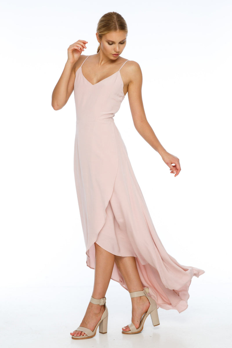 BLAK BRIDESMAIDS  The subtle v neck design of the Florence Dress is flattering to practically all body shapes, with thin straps that create a stunning back pattern, these ties are also adjustable, meaning the neckline is a compatible cut for many bridesmaids. The simplistic dress adds stunning detail in the crossover front and draped back, beautiful - Front View