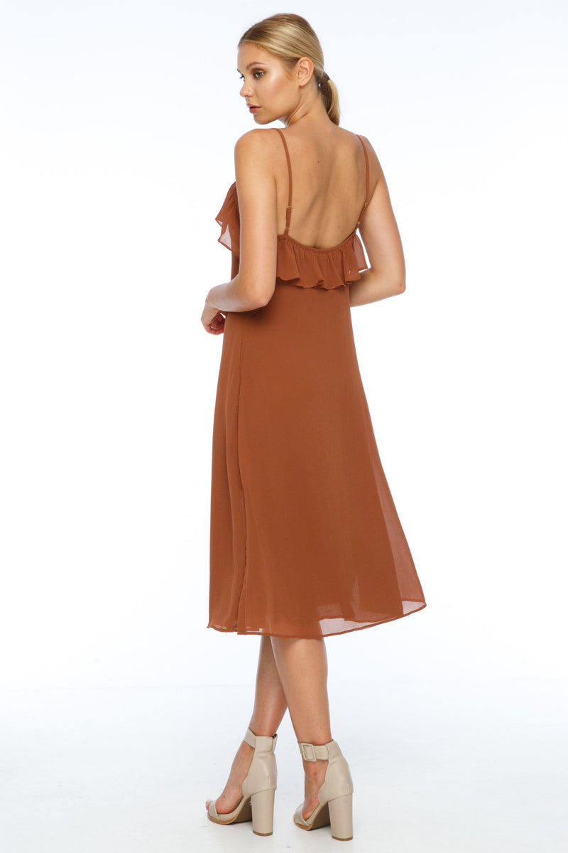BLAK BRIDESMAIDS  A simple slip dress with a straight cut, the Eden Dress is a classic easy shape. With romantic ruffle detail along the neckline and slight side splits, it is both feminine yet effortless. Adjustable shoulder straps add to the versatility of the dress. Back View.