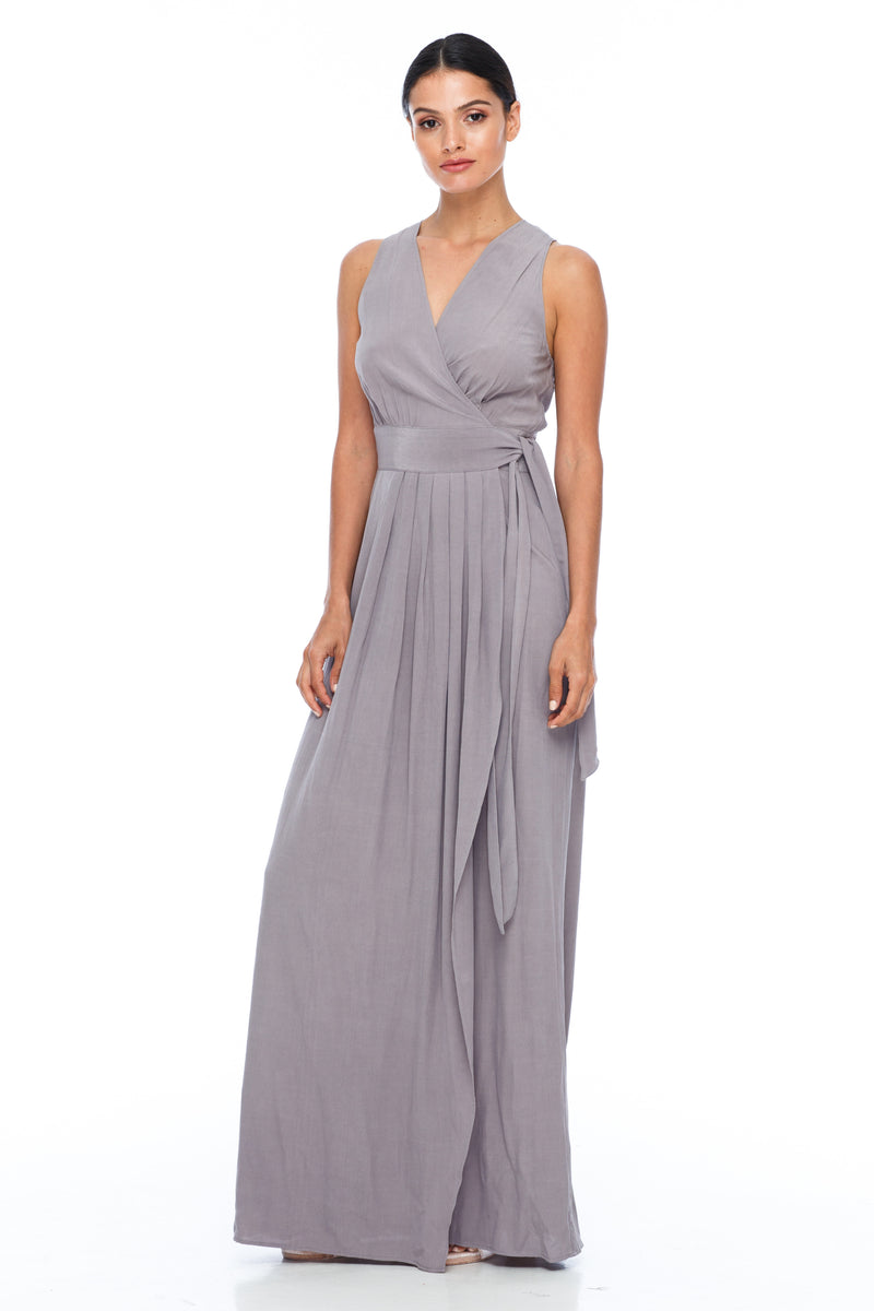 A BLAK Bridemaid Dress - The Florence bridemaids dress has a stunning wrap making it romantic and classic - the wrap style will flatter a range of body types, as will the V neckline and thicker strap - Pewter - Front