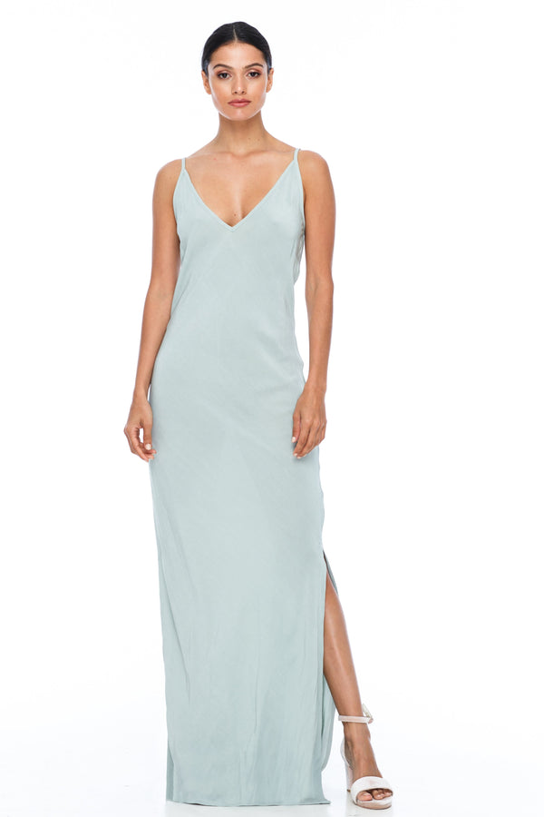 BLAK BRIDESMAIDS  The Long Cairo dress is classic and simple - cut on a bias it hugs the body and falls beautifully. The style has a deeper V neckline than our other styles, yet has adjustable straps which means the dress is able to sit higher if wanted.   This is a made to order BLAK Bridesmaids style - Duck Egg - Front view
