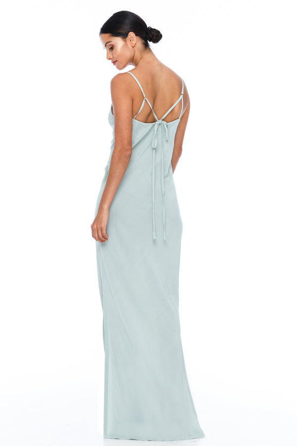 BLAK BRIDESMAIDS  The Long Cairo dress is classic and simple - cut on a bias it hugs the body and falls beautifully. The style has a deeper V neckline than our other styles, yet has adjustable straps which means the dress is able to sit higher if wanted.   This is a made to order BLAK Bridesmaids style - Duck Egg - Back view