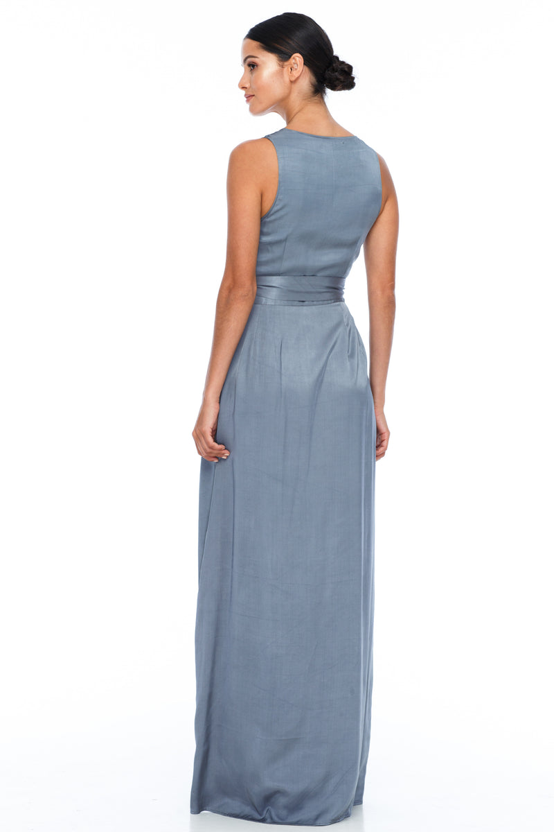 A BLAK Bridemaid Dress - The Florence bridemaids dress has a stunning wrap making it romantic and classic - the wrap style will flatter a range of body types, as will the V neckline and thicker strap - Stone - back
