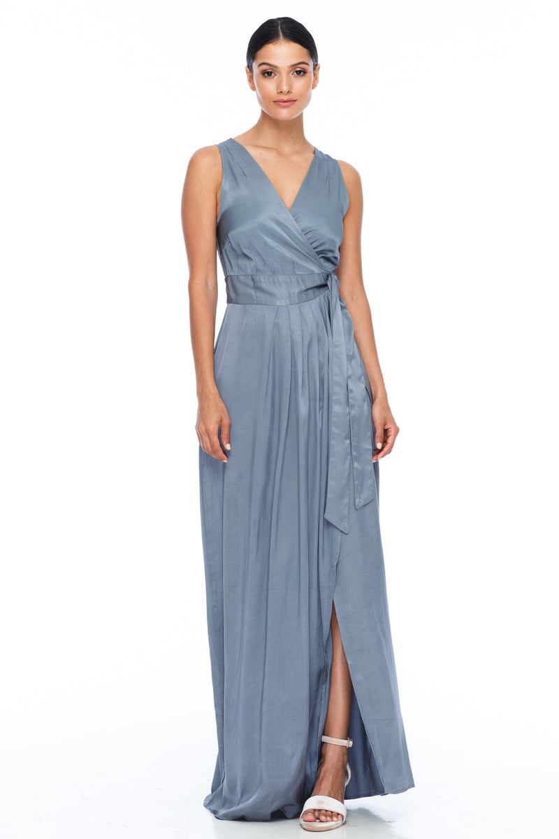 A BLAK Bridemaid Dress - The Florence bridemaids dress has a stunning wrap making it romantic and classic - the wrap style will flatter a range of body types, as will the V neckline and thicker strap - Stone - Front