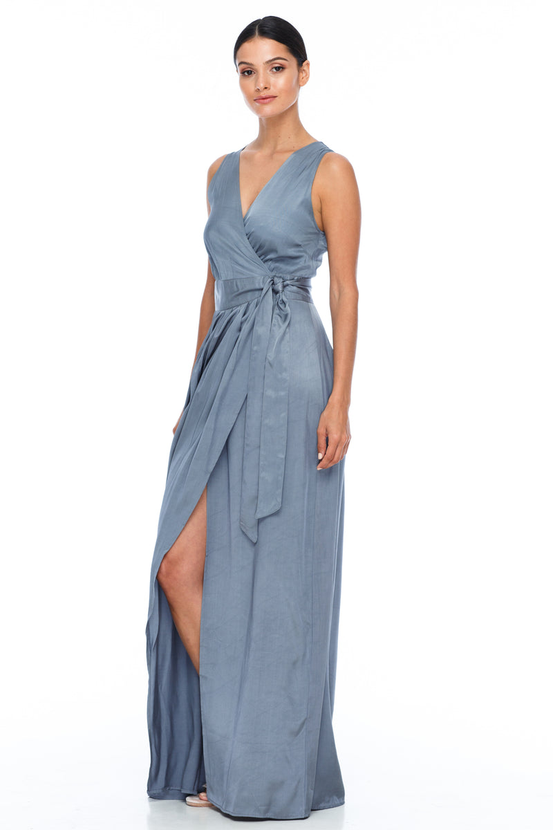 A BLAK Bridemaid Dress - The Florence bridemaids dress has a stunning wrap making it romantic and classic - the wrap style will flatter a range of body types, as will the V neckline and thicker strap - Stone - Side