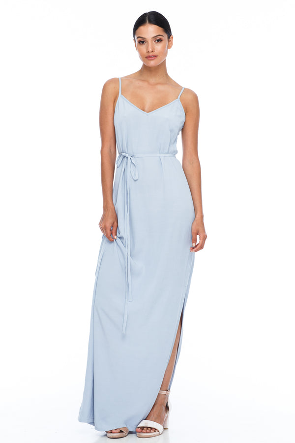 BLAK BRIDESMAIDS  A minimal yet classic dress that is free flowing. Strap detail on the back and side splits for a modern twist. You can also style with a thin or thick waist string for a more fitted look (both options come with the dress) - Becky Blue - Front View