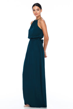 A BLAK BRIDESMAIDS PIECE  The Willow dress with a high neck line and elastic band around the waist for a sophisticated fit. Worn here with our thick ribbon wrap to tie around the waist. Gorgeous cross strap detailing at the back for an added touch - Emerald - Front view