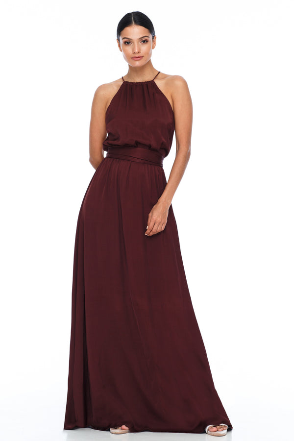 A BLAK BRIDESMAIDS PIECE  The Willow dress with a high neck line and elastic band around the waist for a sophisticated fit. Worn here with our thick ribbon wrap to tie around the waist. Gorgeous cross strap detailing at the back for an added touch - Cinnamon - Front view