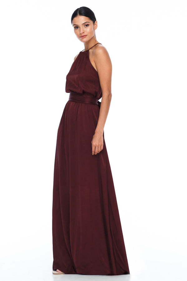 A BLAK BRIDESMAIDS PIECE  The Willow dress with a high neck line and elastic band around the waist for a sophisticated fit. Worn here with our thick ribbon wrap to tie around the waist. Gorgeous cross strap detailing at the back for an added touch - Cinnamon - Side view