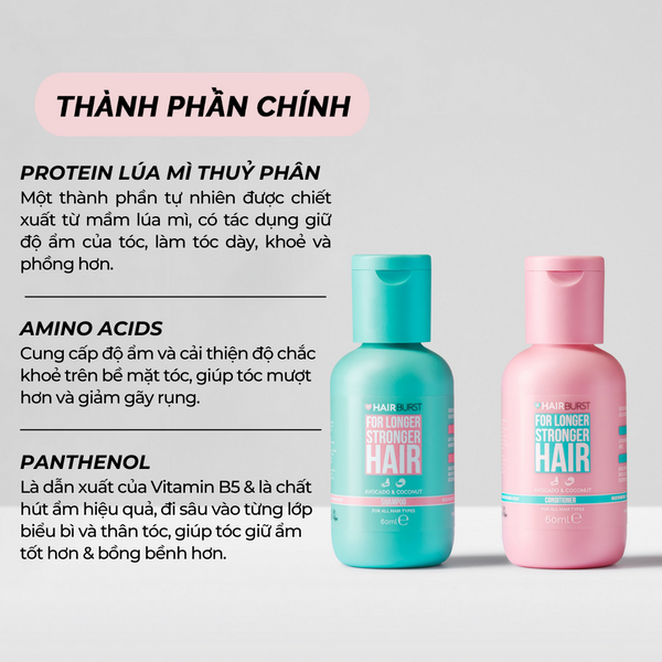SET GỘI XẢ HAIRBURST | HAIRBURST SHAMPOO & CONDITIONER FOR LONGER STRONGER HAIR