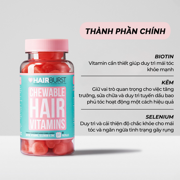 COMBO SET GỘI XẢ VÀ KẸO DẺO HAIRBURST | HAIRBURST CHEWABLE HAIR VITAMINS AND SHAMPOO & CONDITIONER BUNDLE