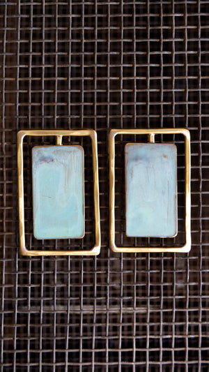 KV Brass Rectangle Earrings