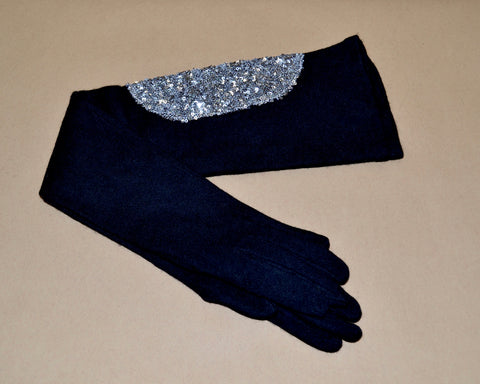 Black sequin gloves