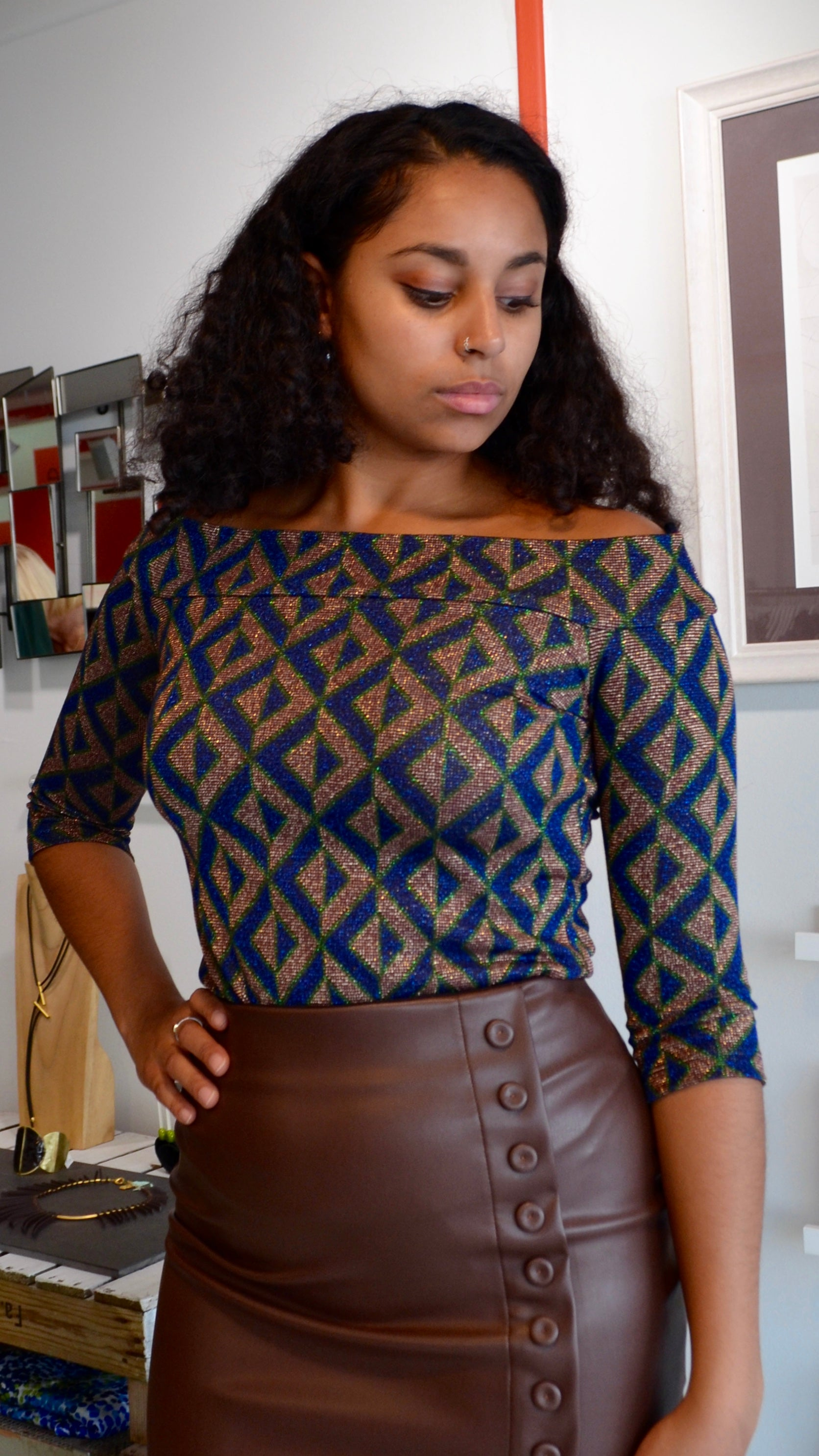 High Waisted Chocolate Faux Leather Skirt