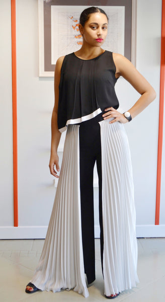 Wide side pleated palazzo