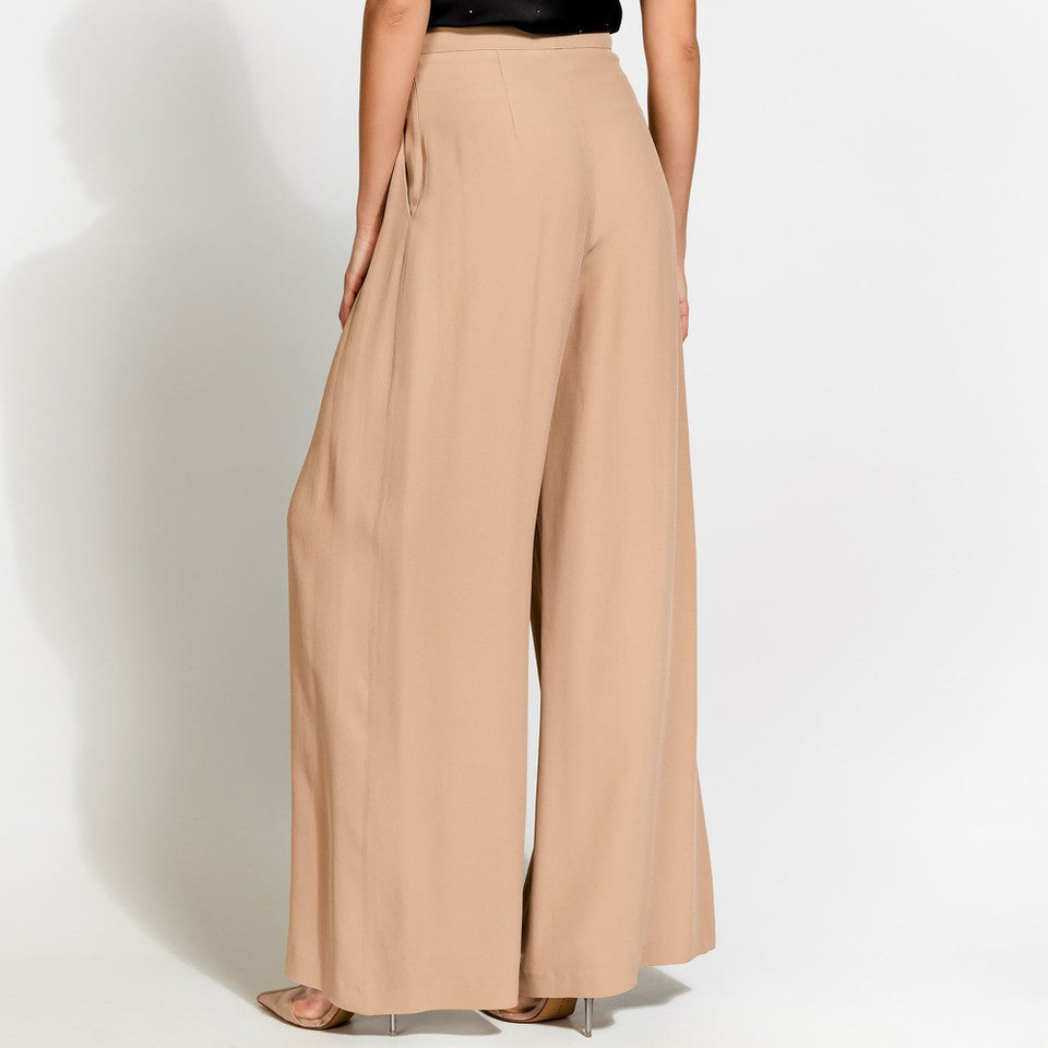 Beige/Gold Wide leg Trouser