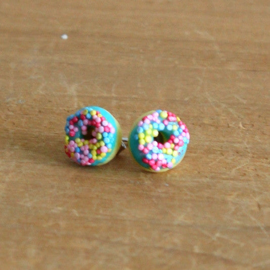 Handmade donut earrings - blue sprinkle