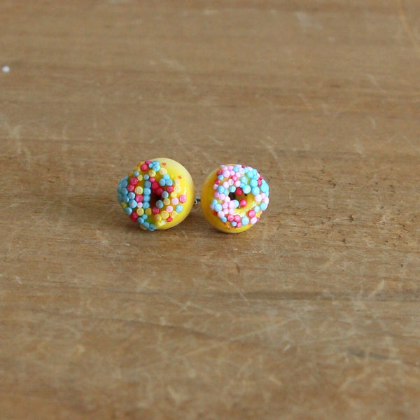 Handmade donut earrings - yellow sprinkle