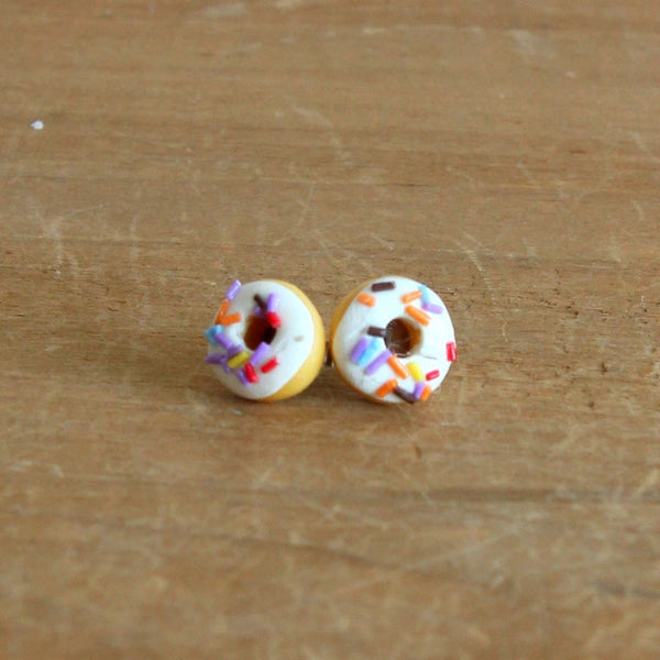 Handmade donut earrings - vanilla long sprinkle