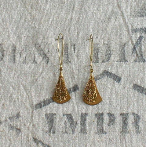 Pimelia Large brass drop earrings