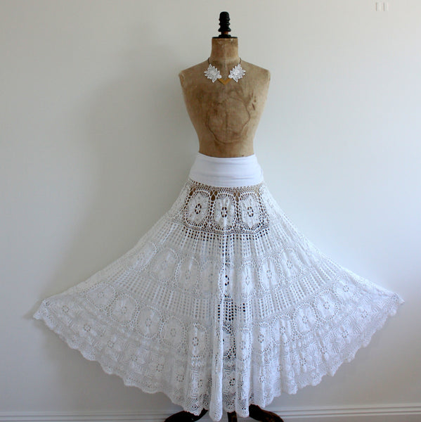 Upcycled crochet lace maxi skirt
