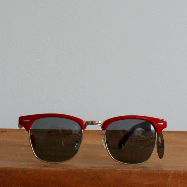 'Clubmaster' vintage style sunglasses red