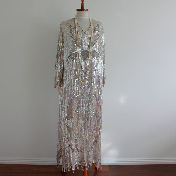 Vintage 1980's does 1930's long sequinned dress