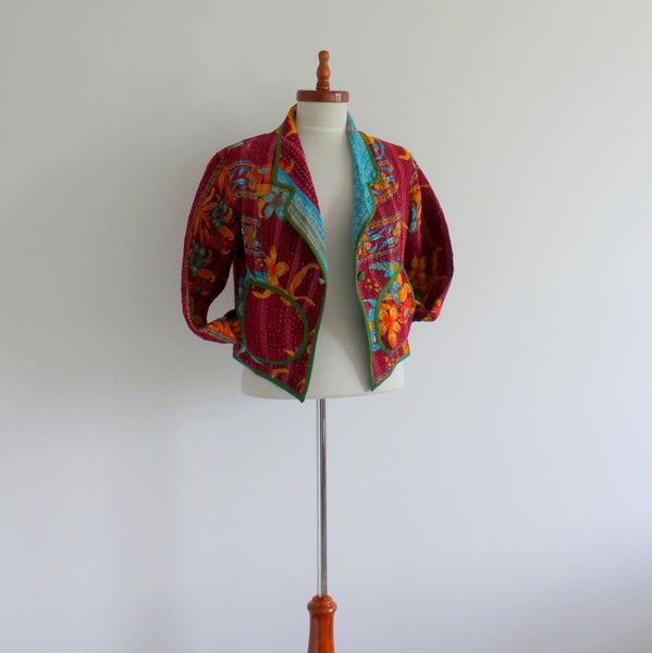 Upcycled kantha jacket small
