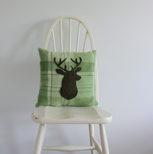 Upcycled deerhead vintage blanket cushion
