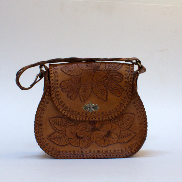 1970's tooled leather handbag