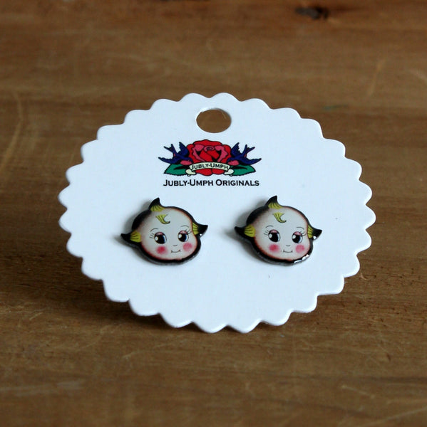 Kewpie stud earrings
