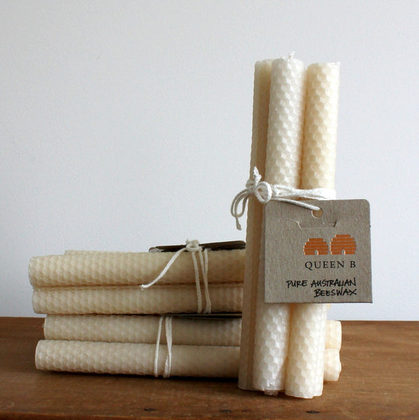 4 pack rolled beeswax taper candles