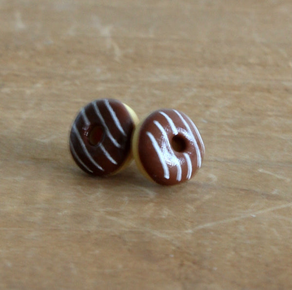 Handmade donut earrings - choc stripe