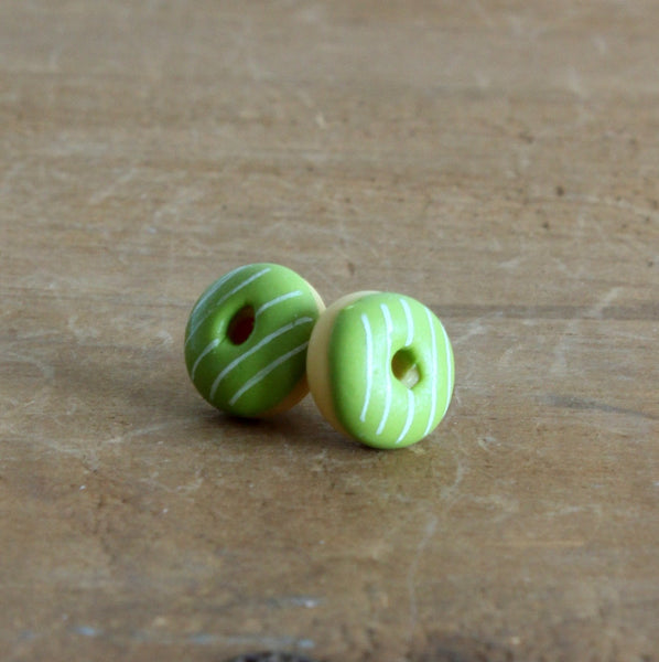 Handmade donut earrings - lime stripe