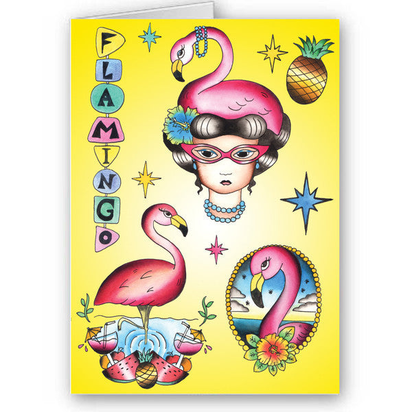 Flamboyant flamingo card