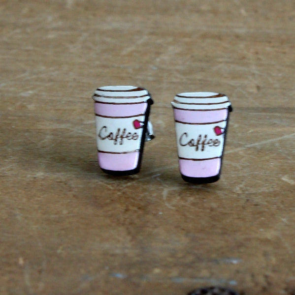 Coffee cup earrings pink
