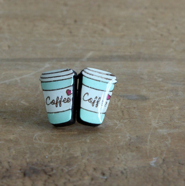 Coffee cup earrings green