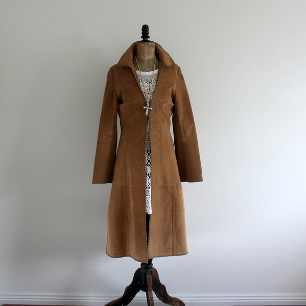 1970's style long suede coat
