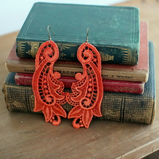 Callista tangerine lace earrings