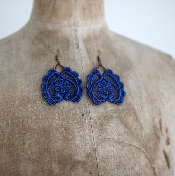 Galia handmade lace earrings cobalt blue