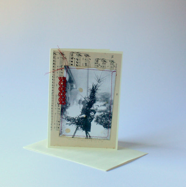 vintage christmas card boy with tree