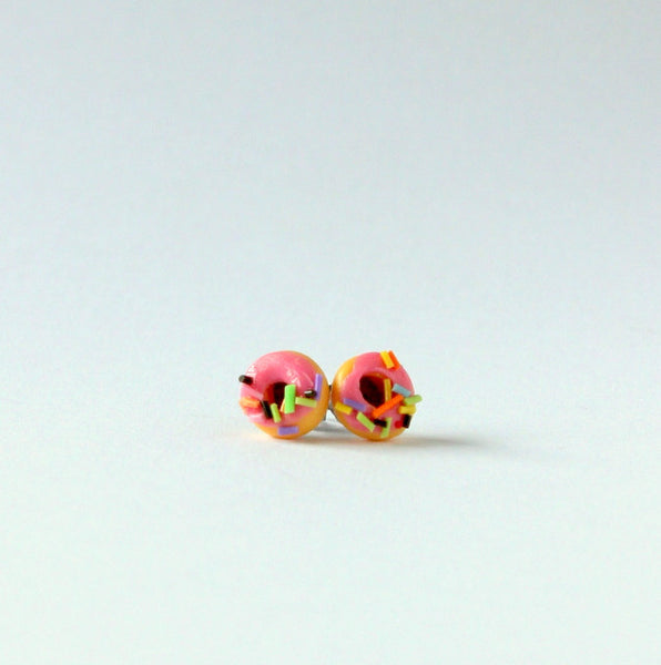 Handmade donut earrings small - pale pink long sprinkle