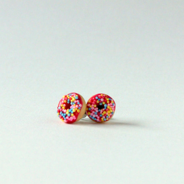 Handmade donut earrings - pink sprinkle