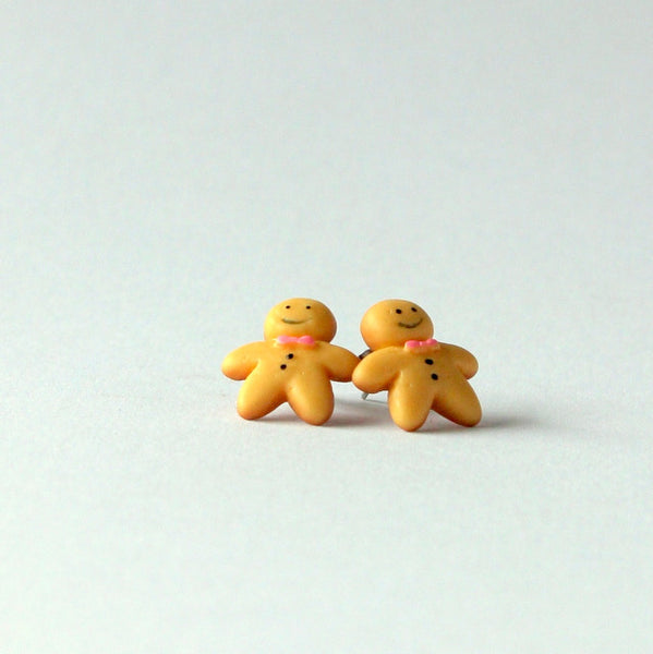 Handmade gingerbread men earrings