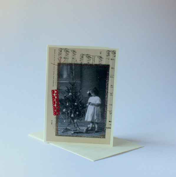 Vintage christmas card girl with tree