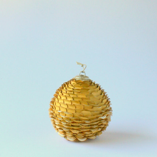 Handmade paper christmas bauble gold