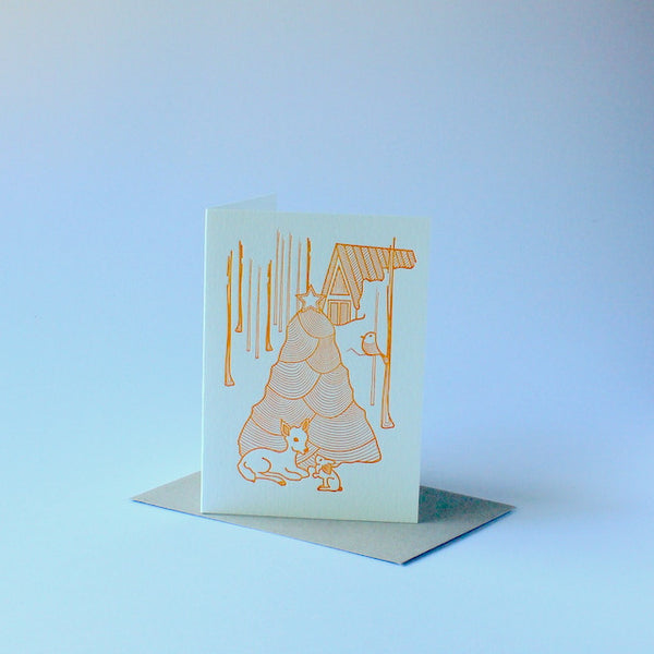 Letterpressed christmas card - christmas tree