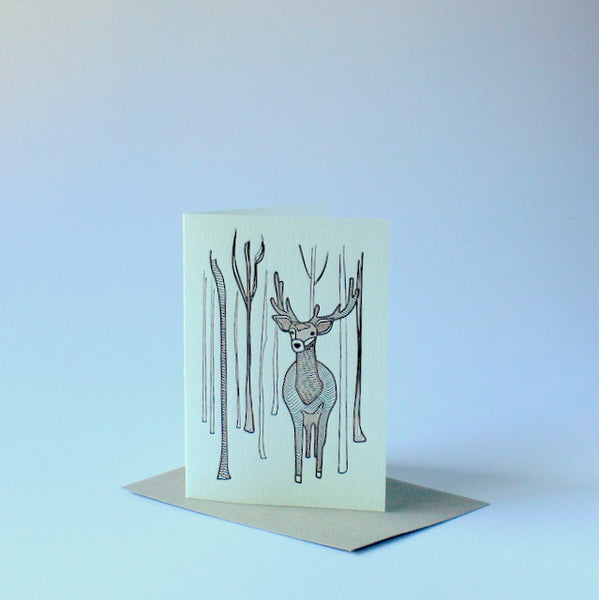 Letterpressed Christmas card - reindeer